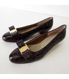サルヴァトーレフェラガモ Salvatore Ferragamo パンプス ヴァラ リボン クロコ 型押し レザー 5.5 C ダークブラウン こげ茶色 23.0cm くつ 靴 シューズ
