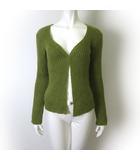 アニエスベー agnes b. カーディガン ニット 長袖 トッパー 羽織り モヘヤ ウール M 2 黄緑 うぐいす色 フランス製 国内正規品