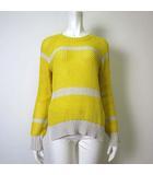ベアトリス BEATRICE ニット セーター 長袖 ボーダー ローゲージ ざっくり 裾 スリット 38 M 黄 イエロー オフ白 ホワイト 美品