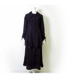 ノンノンドール non non dorl ムッシュ榊 セットアップ 上下 スカートスーツ ウール 花柄 フリル 刺繍 XL 42 ダークパープル 紫 黒 ブラック フリルジャケット ロングフレアスカート ゆったり 大きいサイズ