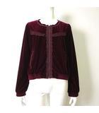 アクシーズファム axes femme ジャケット ブルゾン 長袖 ジップアップ ベロア レース 刺繍 裾 リブ M 赤 ボルドー 美品