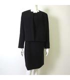 Laorne ブラックフォーマル ワンピーススーツ ジャケット 長袖 ノーカラー ワンピース 半袖 15 XXL 黒 ブラック 大きいサイズ 美品
