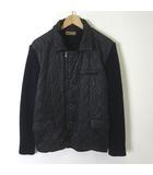 ザラマン ZARA MAN ジャケット ナイロン 中綿 キルティング リブ ニット 切り替え ウール ジップアップ 長袖 L 黒 ブラック