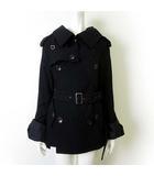 ジュンヤワタナベ JUNYA WATANABE コムデギャルソン COMME des GARCONS ピーコート Pコート ウール 変形 袖フレア M 黒 ブラック AD2005
