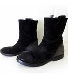 ブッテロ BUTTERO ブーツ ペコスブーツ 本革 スエード レザー バイカラー 39 黒 ブラック グレー 25.0cm くつ 靴 シューズ