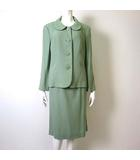 カルヴェン CARVEN 上下セットアップ スカートスーツ ジャケット テーラード 長袖 丸襟 スカート ウール 100% 46 XL 緑 くすみ グリーン 大きいサイズ 美品
