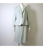 自由区 オンワード樫山 上下セットアップ スカートスーツ ジャケット テーラード 長袖 スカート 48 XL 杢 ライト グリーン 緑 大きいサイズ
