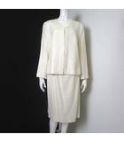 カルヴェン CARVEN 上下セットアップ スカートスーツ ジャケット ノーカラー 長袖 スカート ペンシル 水玉ドット 44 XL オフ白 ホワイト 大きいサイズ 美品