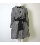 コージワタナベ スティル KOJI WATANABE STYLE ジャケット コート ギンガム チェック 長袖 リボンベルト付 9 M 黒 ブラック 白 ホワイト 美品