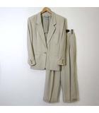 エンポリオアルマーニ EMPORIO ARMANI パンツスーツ 上下セットアップ ストライプ ジャケット テーラード 長袖 パンツ タック 40 XL ライト べージュ 大きいサイズ 国内正規品