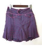 マークジェイコブス MARC JACOBS パンツ キュロット 幾何学模様 シルク 100% 絹 ステッチ 配色 4 XL 紺 ネイビー ピンク 国内正規品 タグ付 美品