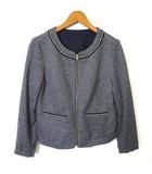 エニィスィス エニシス anySiS ジャケット ノーカラー 長袖 リバーシブル ジップアップ パール 刺繍 ラメライン S 杢 グレー 紺 ネイビー