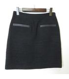 セオリー theory スカート ツイード アルパカ ウール ラム レザー 装飾 ペンシル ラメ M 黒 ブラック