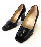 グッチ GUCCI パンプス ハイヒール エナメル 本革 レザー G ロゴ 35 C 黒 ブラック 22.5cm くつ 靴 シューズ