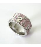 クリスチャンディオール Christian Dior 指輪 リング トロッター ナンバー ロゴ 総柄 12号 ピンク 白 シルバー アクセサリー