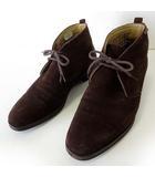 バーバリー BURBERRY ブーツ チャッカブーツ 本革 スエード レザー ロゴ 裏ノバチェック 25.5cm ダークブラウン こげ茶色 くつ 靴 シューズ 国内正規品