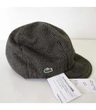 ラコステ LACOSTE キャスケット 帽子 ぼうし ロゴ 刺繍 ウール 57.5cm グレー ブラウン 茶色 ボウシ 国内正規品 タグ付 美品 UV加工