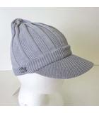 ラコステ LACOSTE キャスケット ニット 帽子 ぼうし ロゴ 刺繍 コットン S グレー タグ付 美品 国内正規品