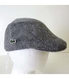 ラコステ LACOSTE ハンチング 帽子 ハンチング帽 ぼうし ウール ロゴ 刺繍 F グレー タグ付 美品 ボウシ 国内正規品