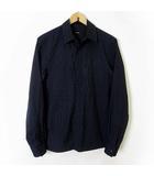 セオリー theory シャツ カジュアルシャツ 長袖 ピンストライプ 比翼ボタン XS ダークネイビー 紺 新タグ