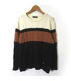ダックス DAKS ゴルフ ニット セーター ウール 100% ケーブル編み 配色 ロゴ プレート L オフ白 黒 ブラウン 国内正規品