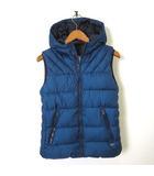 ザラ ZARA BOYS ベスト ジャケット 中綿 ジップアップ フード ロゴ プレート 140 青 ブルー 男の子