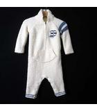 ロンパース つなぎ ボア ロゴ 刺繍 ライン ポケット 長袖 70-80 オフ白 ホワイト 水色 男の子