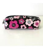 マリークワント MARY QUANT コスメ ポーチ 化粧 小物入れ ペンケース デイジー ロゴ 花柄 黒 ピンク シルバー
