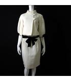 上下セットアップ スカートスーツ ウール ベルベット リボン スタンドカラー ジャケット 38 M オフ白 アイボリー