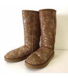 アグ オーストラリア UGG australia ブーツ ムートンブーツ ロング ロゴ 総柄 24.5cm キャメルブラウン 茶色 シルバー US 8 くつ 靴 シューズ