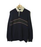 トミーヒルフィガー TOMMY HILFIGER ニット セーター ラガーシャツ ロゴ 刺繍 長袖 M 紺 ネイビー 国内正規品