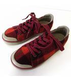 キーン KEEN スニーカー シューズ ウール チェック柄 22.5 エンジ 赤 茜色 くつ 靴