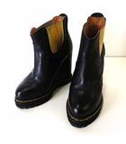 ミハラヤスヒロ MIHARA YASUHIRO ブーツ ブーティ ショートブーツ サイドゴア インヒール 本革 レザー 厚底 23.0cm 黒 ブラック ゴールド くつ 靴 シューズ