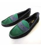 バリー BALLY ローファー スリッポン 本革 ヌバック レザー バイカラー 9 E グレー グリーン 緑 ネイビー 27.0cm くつ 靴 シューズ