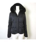 マテリア MATERIA ダウン ダウンジャケット フォックス ファー 毛皮 ダブル ジップアップ フード 長袖 38 M 黒 ブラック 美品