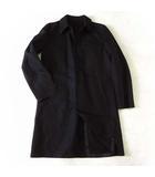 コート ステンカラーコート ゴム引きコート ロゴ ボタン S 44 黒 ブラック 国内正規品