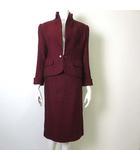 上下セットアップ スカートスーツ ウール 100% フランス生地 ヘリンボーン スタンドカラー 長袖 7 S 赤 ワインレッド 国内正規品