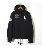 ジャケット パーカー ビッグポニー GERMANY 刺繍 ナイロン ジップアップ フード 長袖 M 黒 ブラック 国内正規品