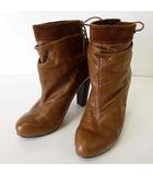 ディーゼル DIESEL ブーティ ブーツ ショートブーツ 本革 レザー スエード ロックスタッズ バックシューレース 37 キャメルブラウン 茶色 23.5cm くつ 靴 シューズ