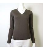 ニット セーター ウール 100% Vネック 美シルエット 長袖 38 M グレージュ 美品