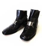サルヴァトーレフェラガモ Salvatore Ferragamo ブーツ ショートブーツ ガンチーニ 金具 本革 レザー 6.5 D 黒 ブラック シルバー 23.5cm くつ 靴 シューズ