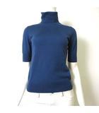 ニット セーター ウール 100% タートルネック ハーフスリーブ 半袖 2 M くすみ ブルー 美品