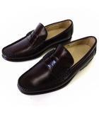 ローファー ビジネスシューズ 革靴 本革 レザー 25.0cm 赤茶色 バーガンディ くつ 靴 シューズ 小さいサイズ