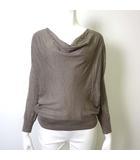 ニット セーター シルク 絹 カシミヤ ウール 変形 ドレープネック 長袖 2 M グレージュ