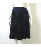 スカート プリーツ フレア Aライン 配色 42 L 紺 ネイビー 水色 国内正規品