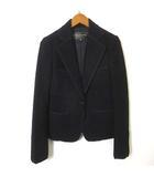 ジャケット ウール パイピング 美ライン 長袖 テーラード S 黒 ブラック 美品