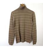 Sapphire ニット セーター シルク 絹 カシミヤ ウール タートルネック ラメ ボーダー 長袖 M 茶 ブラウン ベージュ 美品