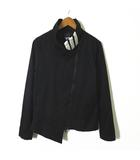 ヨウジヤマモト アディダス adidas ジャケット 変形 アシンメトリー 2重ファスナー ロゴ 刺繍 3本ライン ストレッチ 長袖 S 黒 ブラック 白