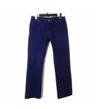 パンツ カラーパンツ スラックス ストレッチ ロゴ 刺繍 M 30 紫 パープル