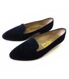 パンプス オペラシューズ スリッポン 本革 スエード レザー 7.5 C 紺 ネイビー 24.5cm くつ 靴 シューズ